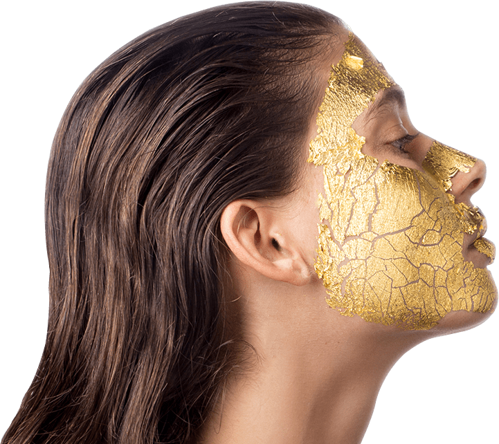 A model with 24K gold mask of mimi luzon