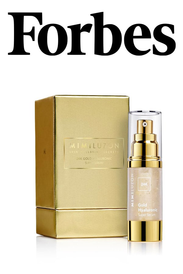 Forbes logo and 24-Carat Gold Hyaluronic Serum By Mimi Luzon