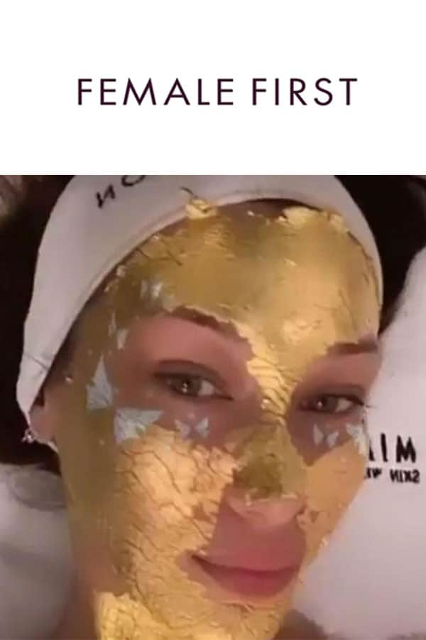 femalefirst logo and Bella Hadid with Mimi Luzon's 24 K Pure Gold Leaf Mask.
