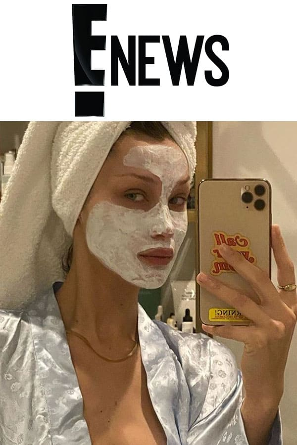 E-news logo and Bella Hadid with Mimi luzon's Fresh Face Mask