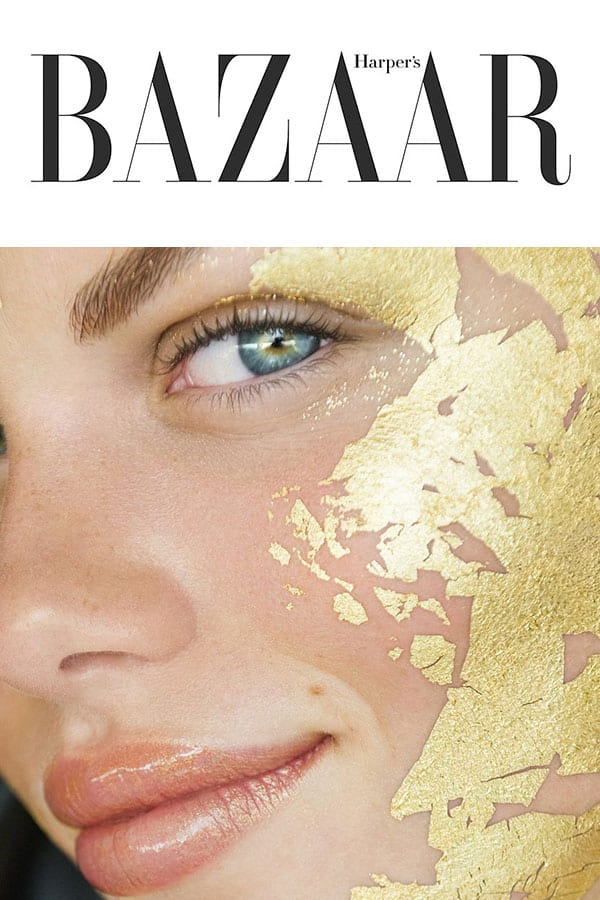 harpersbazaar logo and a model with Mimi Luzon's 24 K Pure Gold Leaf Mask.
