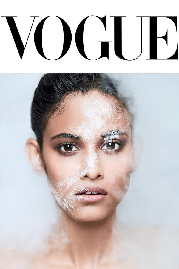 vouge logo and a model