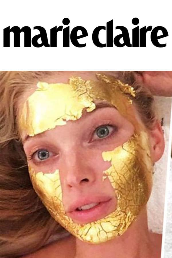 Marie Claire logo and Elsa Hosk with Mimi Luzon's 24 K Pure Gold Leaf Mask.