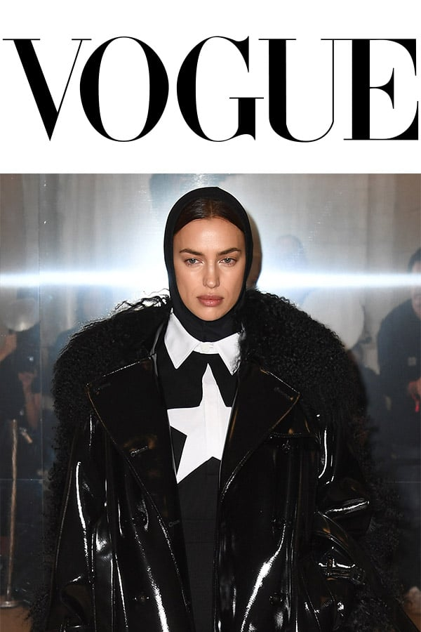 Vouge logo and Irina Shayk in Fashion Show