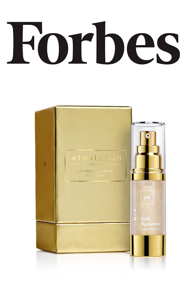 Forbes logo and Mimi Luzon's 24K Gold Hyaluronic Super Serum