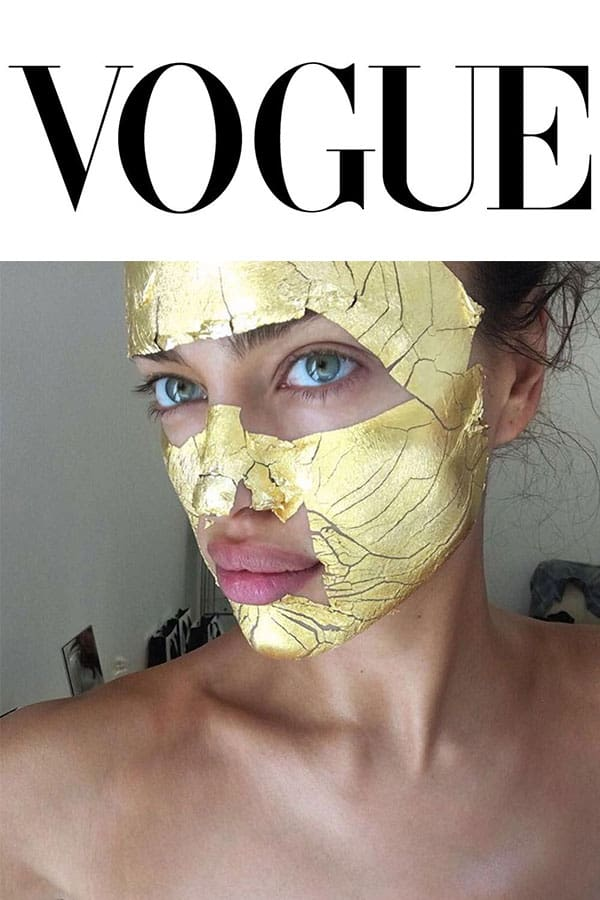 Vouge logo and Irina Shayk with Mimi Luzon's 24 K Pure Gold Leaf Mask.