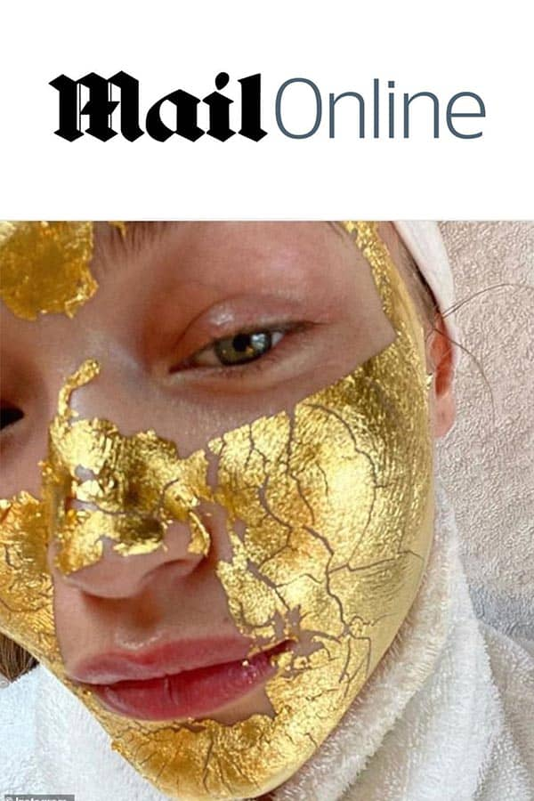 dailymail logo and Gigi Hadid with Mimi Luzon's 24 K Pure Gold Leaf Mask.