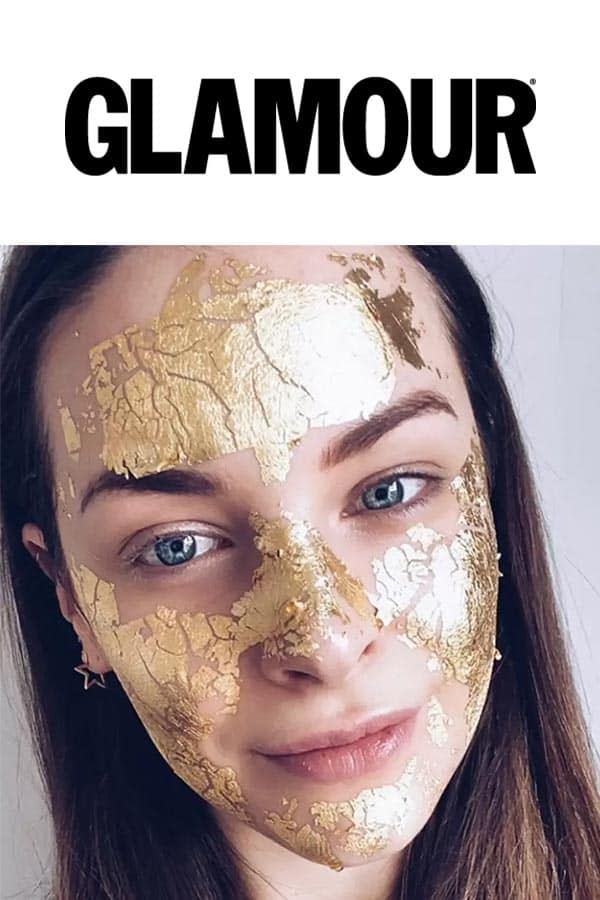 glamour logo and a model with Mimi Luzon's 24 K Pure Gold Leaf Mask.