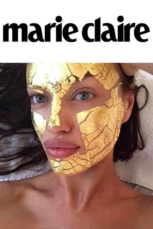 Marie Claire logo and Irina Shayk with Mimi Luzon's 24 K Pure Gold Leaf Mask.