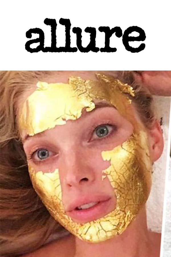 allure logo and Elsa Hosk with Mimi Luzon's 24 K Pure Gold Leaf Mask.